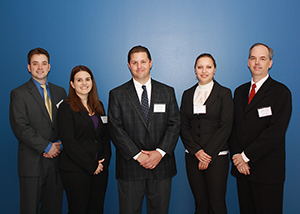 The first-place team for the fall Master of Business Administration Conference simulation competition