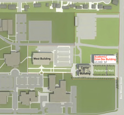 This map of part of the University of Houston-Victoria campus shows where a new academic and economic development building could be constructed.