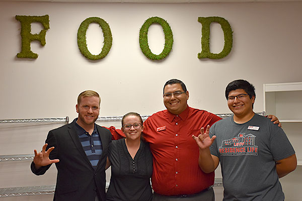 Michael Wilkinson, left, director of UHV Student Life & Services; Sara Weinstein and Freddie Cantu, both UHV Student Life & Services coordinators; and Alvaro De La Cruz, UHV Student Government Association president.
