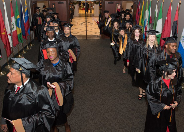 UHV students prepare to make their entrance to graduation
