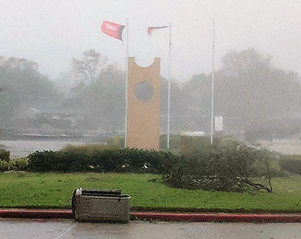 UHV flag shown blowing in the wind during Hurricane Harvey