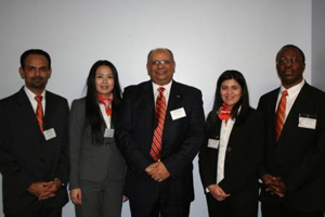 The first-place team for the fall Master of Business Administration Conference case competition